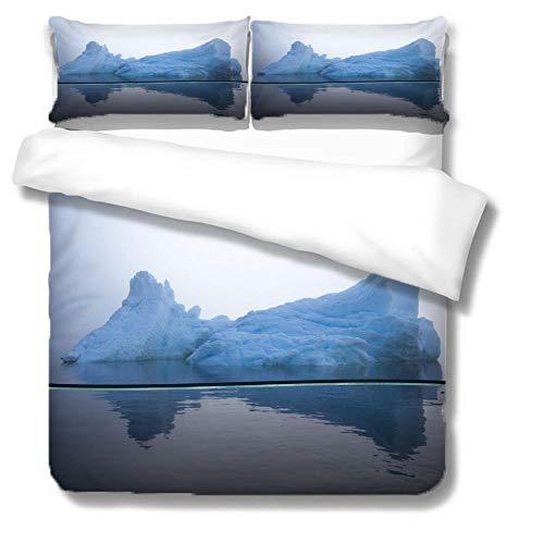Funda De Edredón para Iceberg 2 Funda De Almohada con Impresión 3D Funda De Edredón para Niños Y Adolescentes Edredón Negra con Cierre De Cremallera 200*200Cm