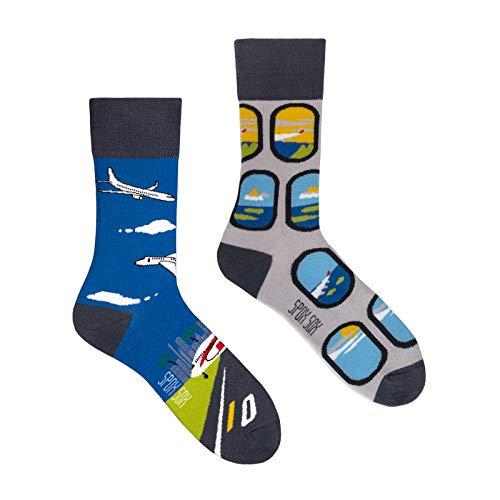 Spox Sox Casual Unisex - mehrfarbige, bunte Socken für Individualisten, Gr. 44-46, Flugzeuge