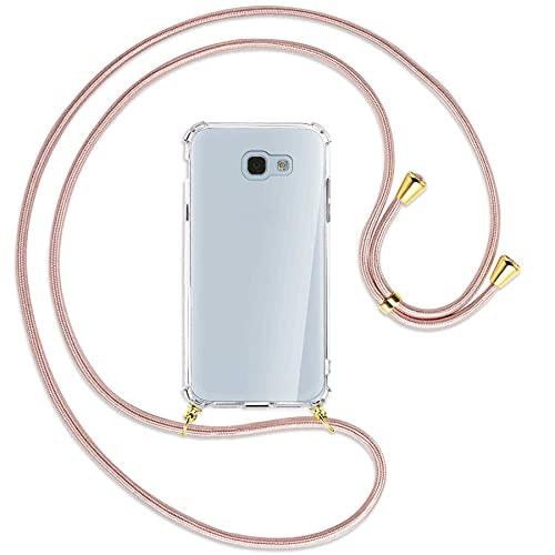 mtb more energy® Collar Smartphone para Samsung Galaxy A5 2017 (SM-A520, 5.2'') - Oro Rosa/Oro - Funda Protectora ponible - Carcasa Anti Shock con Cuerda Correa