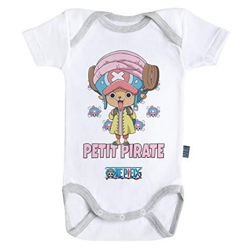 Baby Geek Petit Pirate Chopper - One Piece ™ - Licence Officielle - Body Bébé Manches Courtes (6-12 Mois)