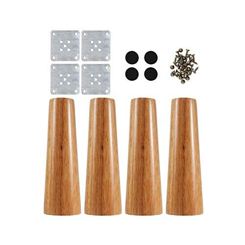 YAG Un conjunto de patas de muebles de estilo nórdico de roble macizo para sofá y gabinete con tornillos para artículos del hogar accesorios 1.16