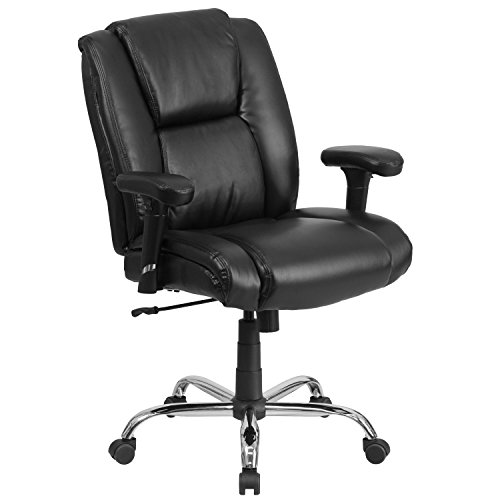 Flash Furniture HERCULES Series Big & Tall 400 lb. Rated Black LeatherSoft Ergonomic Task Office Chair with Chrome Base and Adjustable Arms