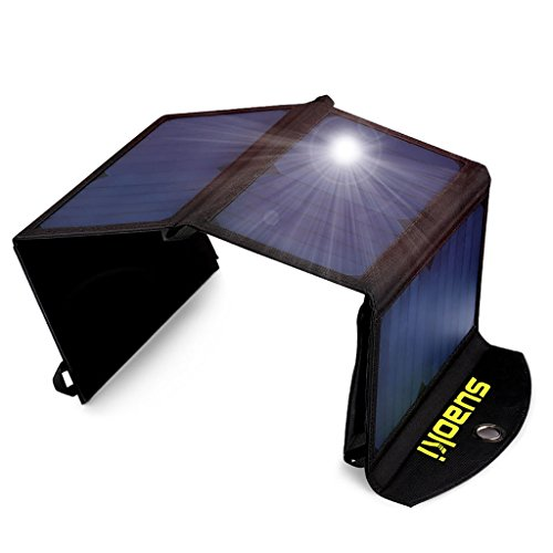 SUAOKI 25W Solar Charger Portable Foldable Solar Panel Mono-Crystalline Universal Phone Charger with 2-Port USB Ports, TIR-C Technology for All USB Device