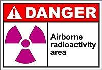 Danger Airborne Radioactivity Area 注意看板メタル安全標識注意マー表示パネル金属板のブリキ看板情報サイントイレ公共場所駐車ペット誕生日新年クリスマスパーティーギフト