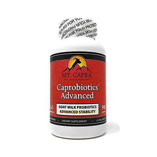 MT. CAPRA SINCE 1928 Caprobiotics Advanced | Shelf Stable Probiotics for Women and Men with 7 Synergistic Strains, Daily Supplement of 61 Billion CFU, Cultured in Raw Goat Milk - 90 Pills
