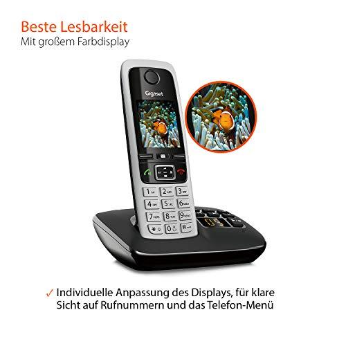 Gigaset C430A Trio Telefon – Schnurlostelefon / 3 Mobilteile – TFT-Farbdisplay / Dect-Telefon – mit Anrufbeantworter / Freisprechfunktion – Analog Telefon – Schwarz - 5