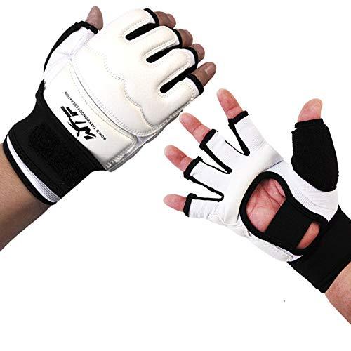 SHOUTAO Boxhandschuhe für Kinder Erwachsene Halbfinger Boxhandschuhe Sanda Karate Sandbag Protector für MMA Kickboxen Muay Thai Trainingsweiß@Weiss_M