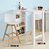 SoBuy FWT17-W Bartisch Beistelltisch Stehtisch Küchentheke Küchenbartisch mit 3 Regalfächern Tresen weiß BHT: 112x106,5x57cm - 6
