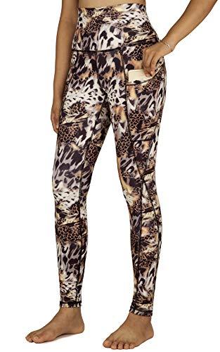 Free Leaper Leggings Sportivi a Vita Alta da Donna Pantaloni Lungo da Yoga Leggins a Fantasia a Stampa Tigre con Tasche (Tigre Stampato, XS)
