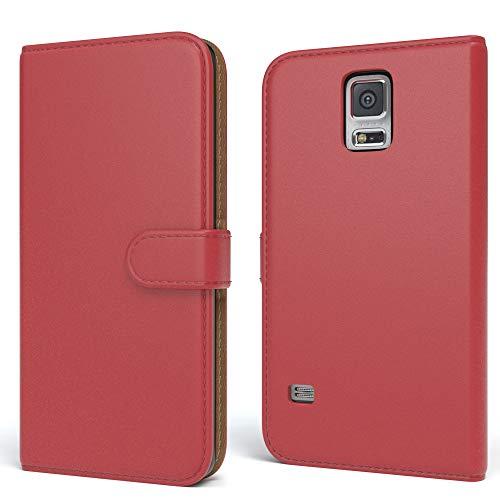 EAZY CASE Tasche für Samsung Galaxy S5/LTE+/Duos/Neo Schutzhülle mit Standfunktion Klapphülle im Bookstyle, Handytasche Handyhülle Flip Cover mit Magnetverschluss & Kartenfach, Kunstleder, Rot