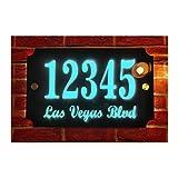 Custom House Address Plaque, Laser Engraved Acrylic LED Sign, Premium Quality, Stylish and Durable (11'x7' Rectangle, Blue LED)