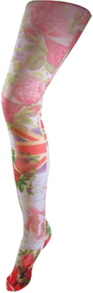 Womens 80 Den Opaque GB Flag Union Jack English Rose Pantyhose tights