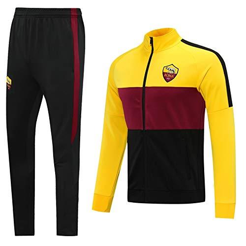 LZMX Club di Calcio Giacca da Calcio Ufficiale di Calcio Uomo Giacca da Uomo a Manica Lunga + Pantaloni Sportswear Suit Rome Track And Field Jacket Training Tuta (Color : A, Size : M)
