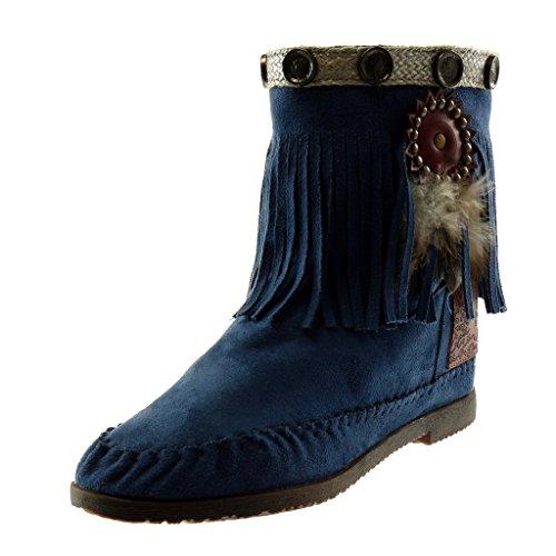 Angkorly - Damen Schuhe Stiefeletten Stiefel - Mokassin Stiefel - Folk - Slip-On - Fransen - Feder - Nieten - besetzt Blockabsatz 1.5 cm - Blau M866 T 39