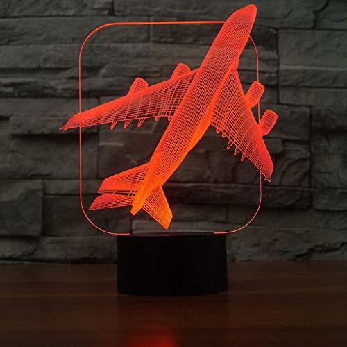 Illusion LED Grande lumière de nuit d'avion 3D Illusion optique LED, interrupteur tactile Mini lampe de table à télécommande pour cadeau d'anniversaire lampe de sculpture d'art de décoration chambre d