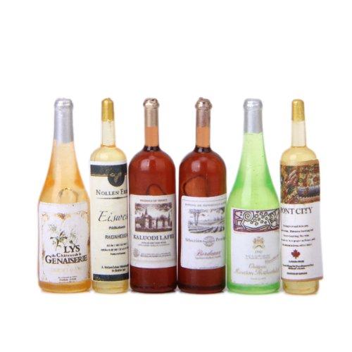 #N/A/a 12a Casa de Muñecas Comedor Vajilla Cocina Olla Botellas Decoración de La Barra - # 6 6pcs Botellas de Vino en Miniatura