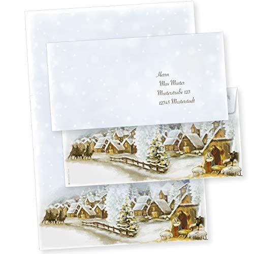 TATMOTIVE 05-0144-0090-00025 Weihnachtsdorf 25 Sets Weihnachtsbriefpapier mit Umschläge ohne Fenster, für Geschäftskunden