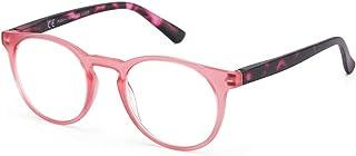 Reading glazen damesleesbril, ronde ultralichte leesbril voor lezen, kantoor, vermoeidheidsvermindering, blauw, rood, tran...