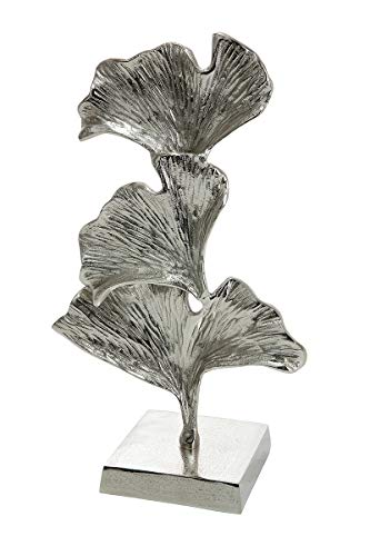GILDE Skulptur Ginkgo - Dekoobjekt aus Aluminium in Silber H 40 cm