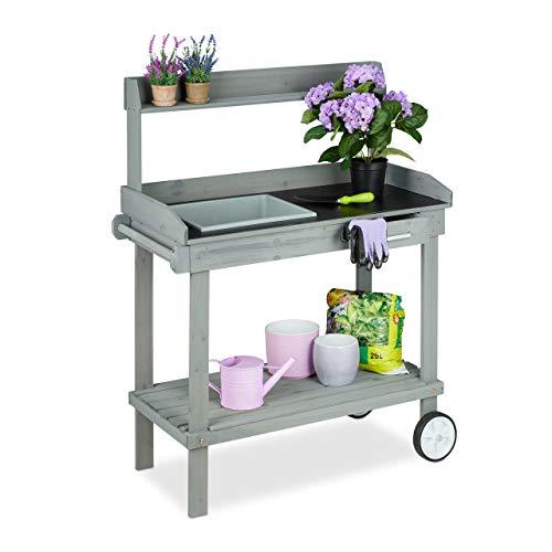 Relaxdays Pflanztisch mit Rollen, Wanne & Schublade, Gartenarbeitstisch, Holz, Kunststoff, HBT: 120 x 97 x 48 cm, grau
