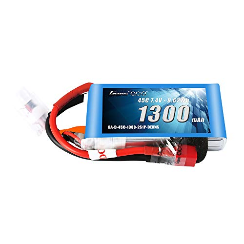 Gens ace 7.4V 1300mAh 2S 45C LiPo Battery Pack with Deans Plug