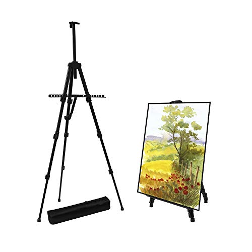 Artist Easel Stand,Extra Thick Aluminum Metal Tripod Display Easel 17 to 56 Inches Adjustable Height with Portable Bag for Floor/Table-Top Drawing and Displaying