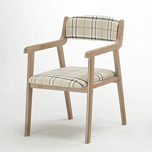 JIEER-C leerstoel retro eetkamerstoel, massief houten stoel restaurant leuning vrijetijdsstoel bureaustoel stof 48 x 53 x 83 cm Lichte onderdelen.