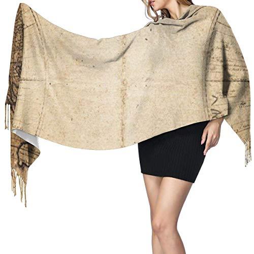 Brújula de mapa náutico pirata chal largo de moda para mujer marinero pirata brújula de madera náutica bufanda de cachemira invierno cálido