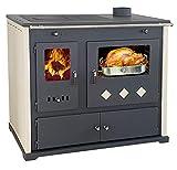 Stufa a legna classe di efficienza energetica A+ con scomparto per forno e piastra di cottura Pracktik Lux da 9,5 kW Camino, stufa a fuoco permanente da officina, forno svedese