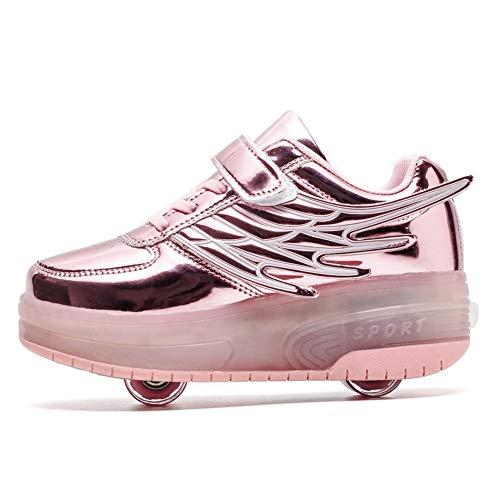 Nonbrand Junge Mädchen Schuhe Kinderschuhe mit Rollen LED Leuchtend Doppelrad schuheltraleicht Outdoor Schuhe 7 Farbe Farbwechsel Rädern Gymnastik Sneaker Kann mehrfach aufgeladen Werden
