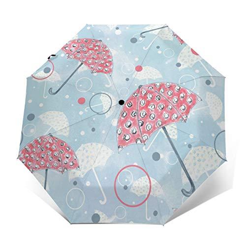 Pinker Regenschirm, winddicht, kompakt, für Damen und Herren