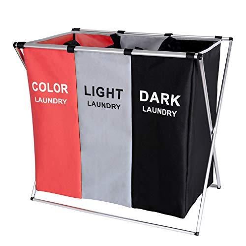 BRIGHTSHOW 135L Laundry Cloth Hamper Sorter Basket Bin Foldable 3 Sections with Aluminum Frame 62cm...
