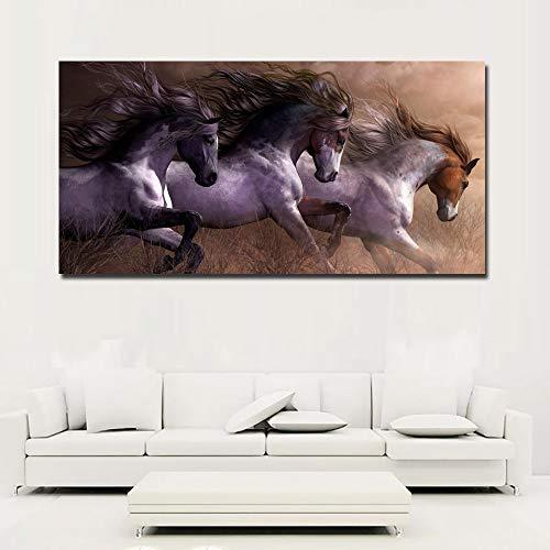Moderne dieren kunst aan de muur foto woondecoratie canvas schilderij drie paarden lopen vintage kunst schilderij frameloze schilderij 45x90cm