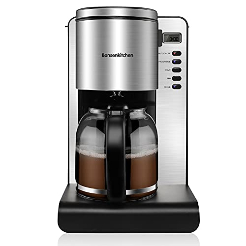 Bonsenkitchen Filter Coffee Machine, 1.5 L Programmable 24hr Timer, Keep Warm & Anti-Drip Function, Brew Strength Control, Reusable Filter for Coffee and Tea Brewing, Fast Brewing, 1000W