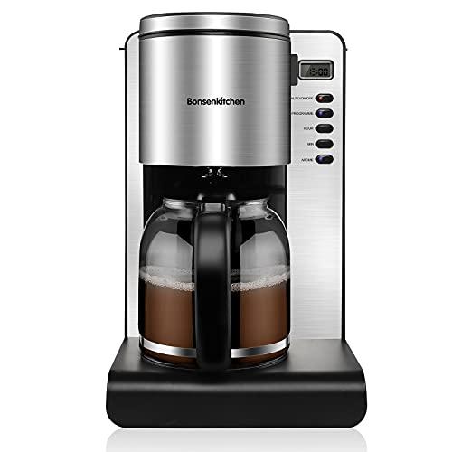 Bonsenkitchen Filter Kaffeemaschine Edelstahl, 900W 1.5 L Kaffeemaschine, Digitaler Programmierbarer Timer, Permanentfilter, Glaskanne 10 Tassen, Warmhalteplatte, Aroma Selector, Tropf-Stop