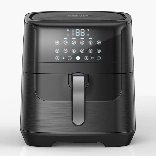 Heißluftfritteuse, Airfryer aus Edelstahl mit Digitalem LED-Touchscreen, Ohne ÖL Fritteuse Luftfritteuse, Vorheizen Funktion, BPA und PFOA Frei