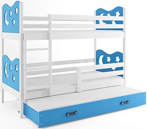 Interbeds Etagenbett Miko 3 (für DREI Kinder) 200x90cm Farbe: weiβ + 2. Farbe zur Wahl; mit Lattenroste und Matratzen (blau)