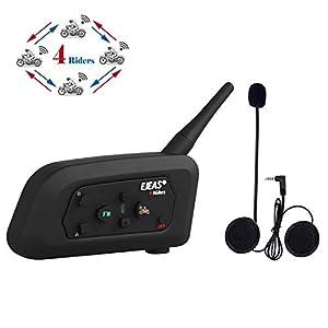 immagine di runhua V4 Casco Interfono Moto, 4 Piloti Full Duplex Talk Nello Stesso Momento, 1200M Casco Interfono Bluetooth Moto, Moto Auricolare Bluetooth Supporto FM