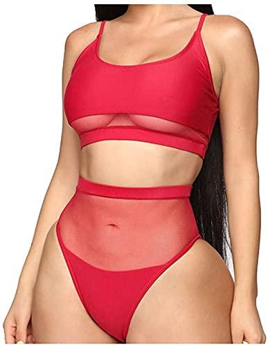 Traje de baño para mujer Traje de baño de malla sexy Transparente Patchwork Conjunto de bikini Chaleco Tops Pantalones cortos Vacaciones de verano Playa Control de abdomen de dos piezas Tank