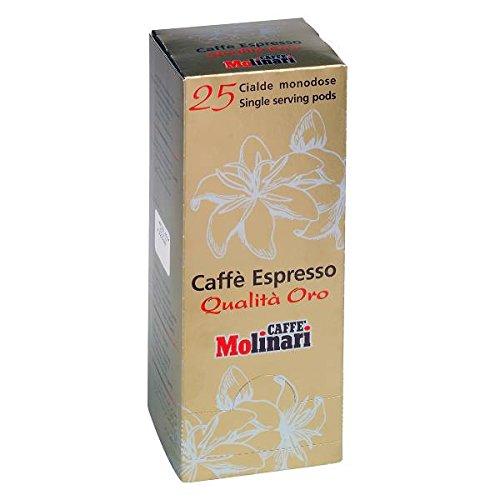 Caffè MOLINARI - Espresso Qualità ORO - 2 x 25 monodosis de cafés espresso E.S.E 44mm (Total: 54 monodosis) envasadas individualmente