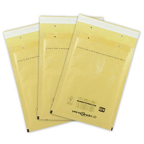 100 Luftpolsterversandtaschen Luftpolstertaschen Groesse D4 200 x 270mm (aussen) braun/gold versando