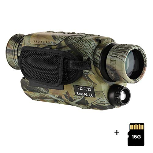 BOBLOV Night Vision Monocular with 16G Card, Digital Infrared Night Scope for Hunting, 5x32 Monocular with Camera & Camcorder, 150-200Yards Full Dark, Camouflage with Extra Fliter for Day (Camouflage)