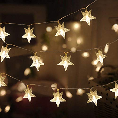 43 ft 100 Led Christmas Star String Lights Plug in for Bedroom Decor Indoor Outdoor Christmas Fairy Light Twinkle for New Year Home Wall Garden Decorations Warm White