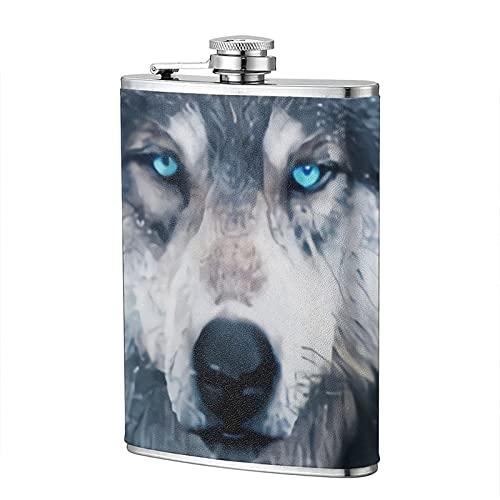 mengmeng Petaca portátil de bolsillo de acero inoxidable con diseño de lobo estrellado de acuarela, 8 onzas, para escalada, camping, barbacoa, bar, fiesta, bebedor