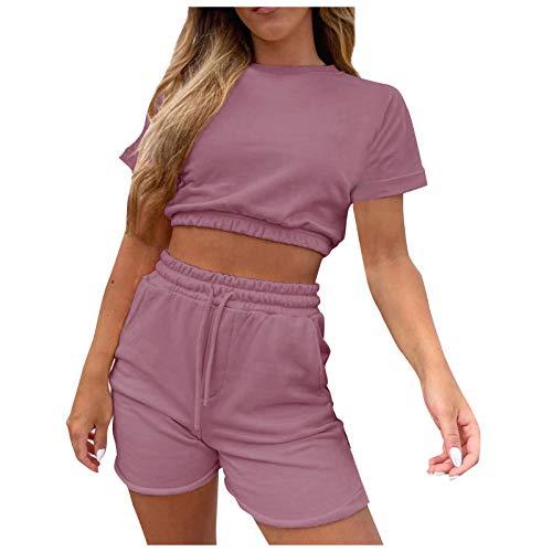 Kpasati Sommer Einfarbig Bauchnabel Zeigen lässige Kleidung Damen Wohnungsausstattung Sportbekleidung 2-teiliges Set