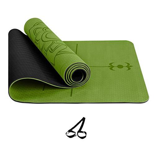UNIVERSAL TOP PRODUCT Tappetino fitness tappetino yoga, Alta Densità con Tracolla per Allenamento di Yoga, TPE,Eco Friendly, Pilates ed Esercizi a Terra (VERDE)