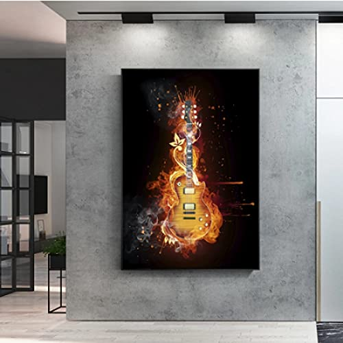 cuadros decoracioncuadroslienzowall art 60x90cm Frameloos Guitarra Guitarra Eléctrica Aceite Abstracto Imagen Moderna Decoración