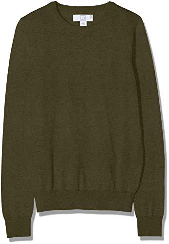 Amazon-Marke: MERAKI Baumwoll-Pullover Damen mit Rundhals, Grün (Khaki), 36, Label: S