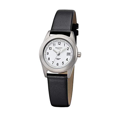 Regent Damen Uhr F-660 Leder Quarzwerk Armband-Uhr Titan-Uhr schwarz URF660