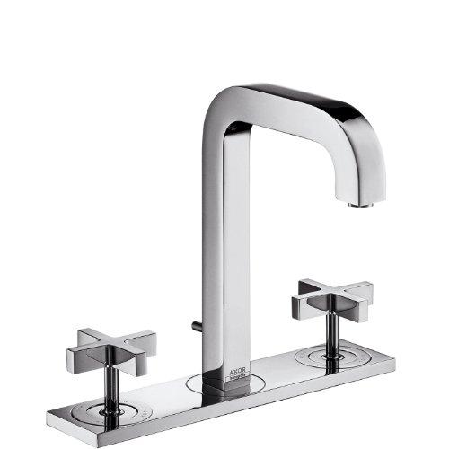 Axor Citterio 3-Loch Waschtischarmatur mit Zugstangen-Ablaufgarnitur und Auslauf 140 mm, Kreuzgriffe und Platte, Chrom